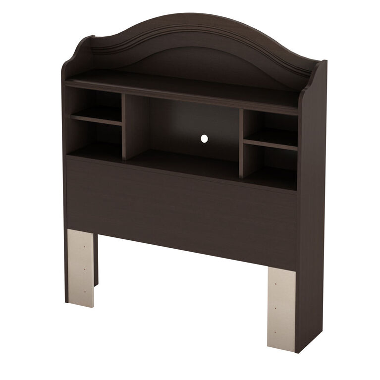 Summer Breeze Bookcase Headboard with Storage- Chocolate