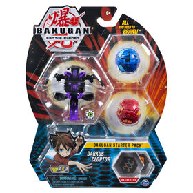 Bakugan Starter Pack 3-Pack, Darkus Cloptor, Collectible Action Figures