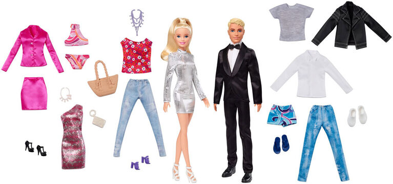 Barbie and Ken Dolls with 5 Outfits for Each, Blonde