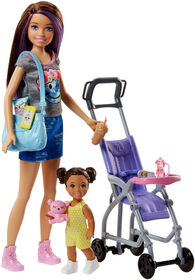 Barbie Babysitting Playset with Skipper Doll, Baby Doll, Bouncy Stroller and Themed Accessories
