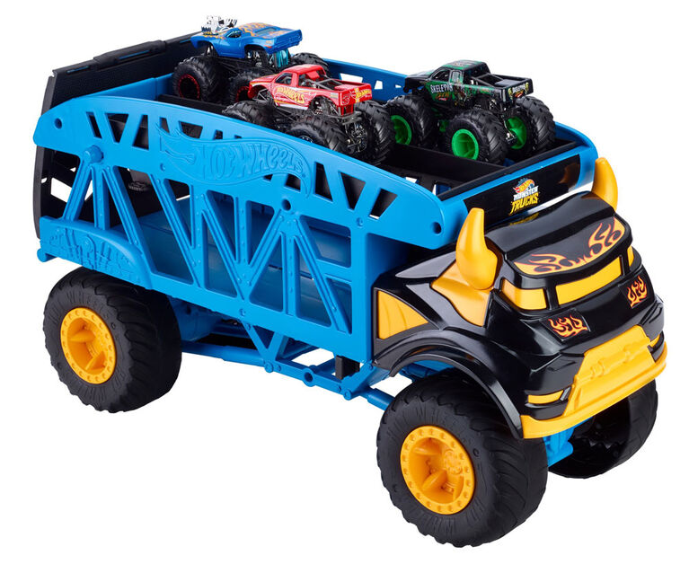 Hot Wheels - Monster Trucks - Vehicule Transporteur Monstre + 3 Camions - Notre exclusivité