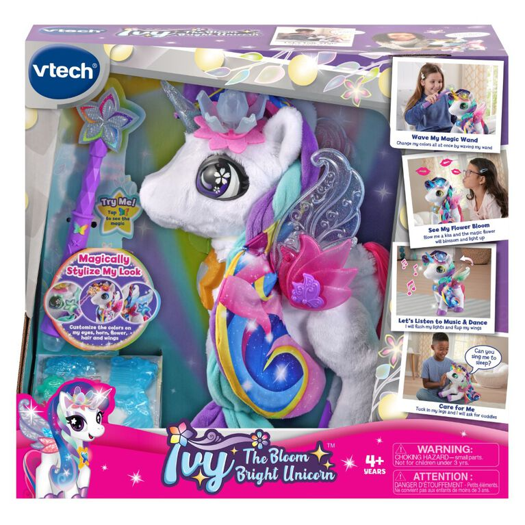 VTech Ivy the Bloom Bright Unicorn Interactive Toy - English Edition, Electronic Singing Pet with Magic Wand and Hair Accessories