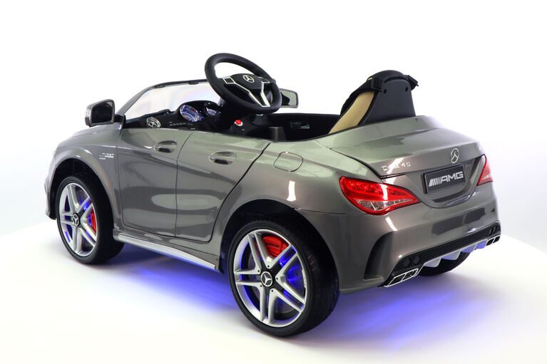 Moderno Kids Mercedes CLA45 12V Battery Power Ride-On Car - Gray Metallic
