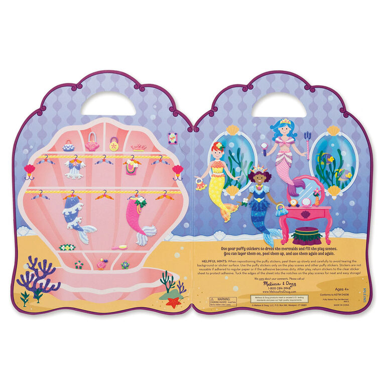 Melissa & Doug Puffy Sticker Activity Book: Mermaids - 65 Reusable Stickers