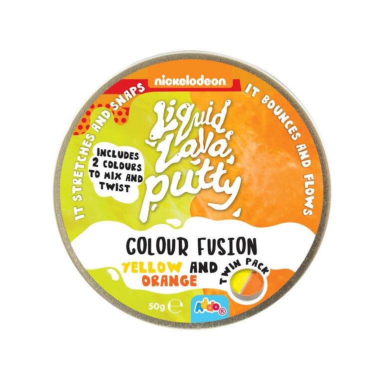 Nickelodeon - Pâte Liquid Lava Putty Colour Fusion - Yellow and Orange (jaune et orange) - Notre exclusivité