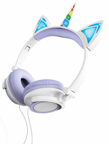 Art+Sound Unicorn Wired Headphones with LED Lights - Purple