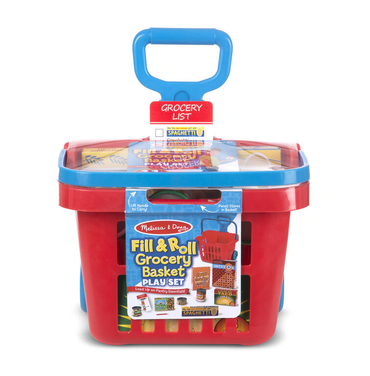 Melissa & Doug Fill and Roll Grocery Basket Play Set With Play Food Boxes and Cans