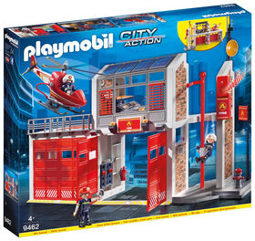 Playmobil - Caserne de pompiers avec hélicoptère