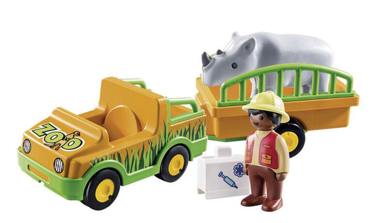 Playmobil 1.2.3. Vétérinaire avec véhicule et rhinocéros 70182