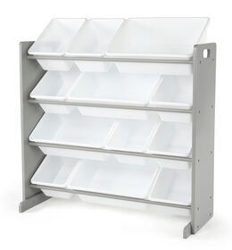 Inspire Toy organizer (grey rack, white bins)