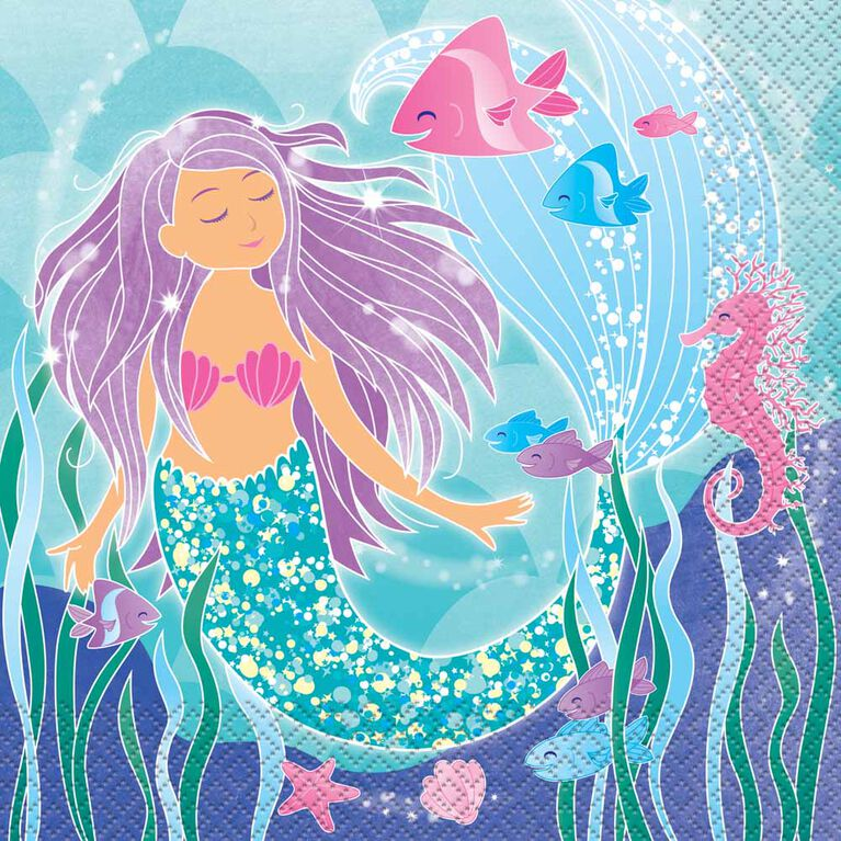Mermaid Luncheon Napkins, 16 pieces