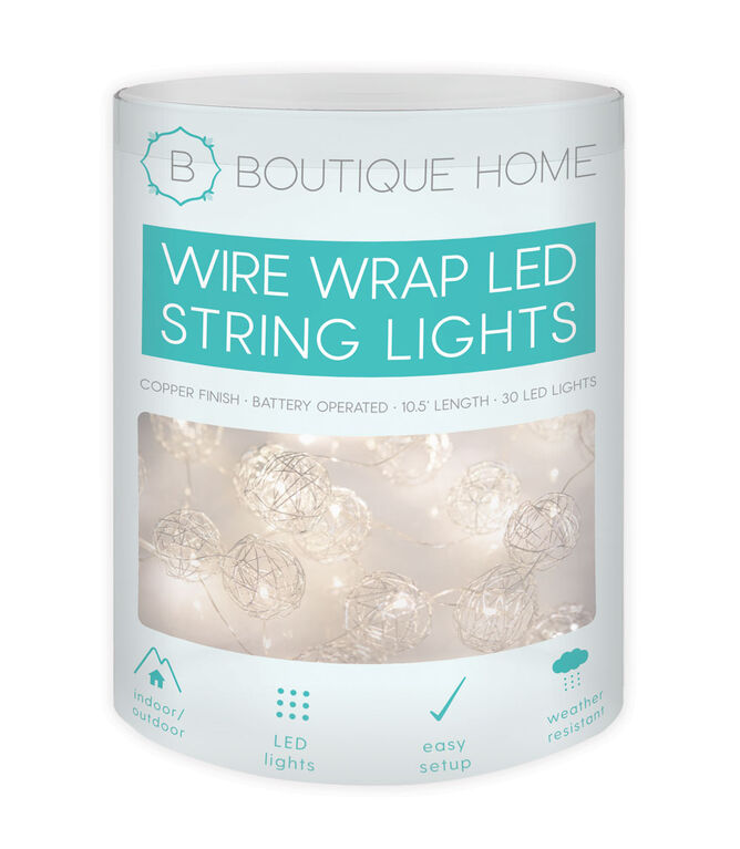 Boutique Home Silver Wired Wrap LED String Lights