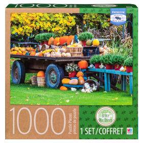Artist Bruce MacQueen - 1000 Piece Adult Jigsaw Puzzle - Wagon with Pumpkins