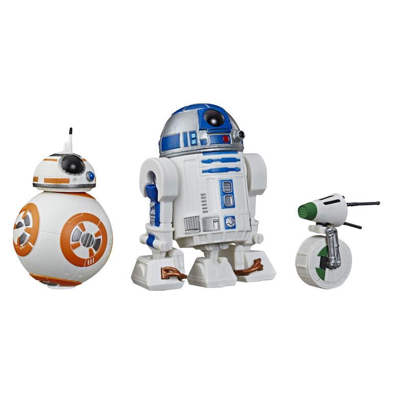 Star Wars Galaxy of Adventures - Trois figurines articulées de droïde de 12,5 cm (R2-D2, BB-8, et D-O )