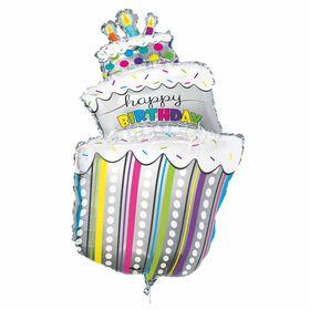 "Polka Dots Bday Cake Giant Foil 40"" - English Edition"