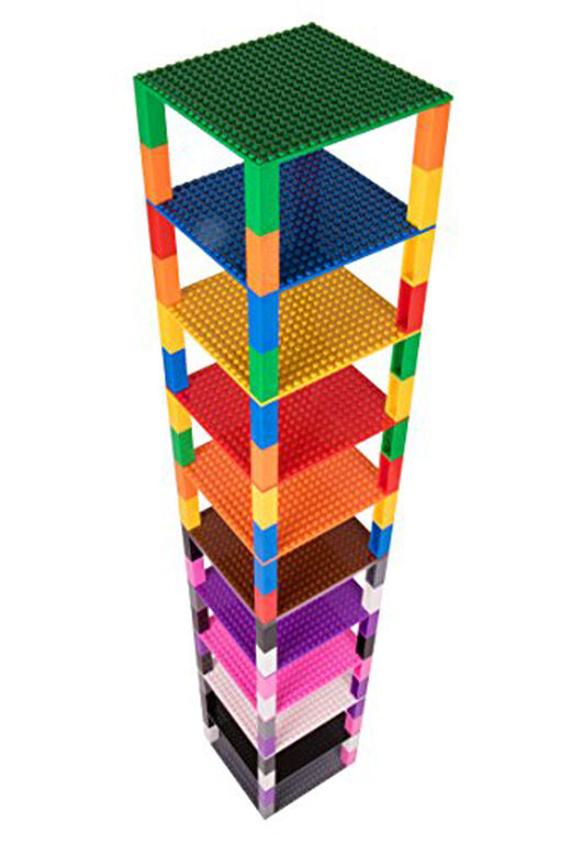 "Strictly Briks - Brik Tower - 6"" x 6"" - 20 x 20 pegs - 12 Baseplates - 80 Stackers - 12 Rainbow Colours"