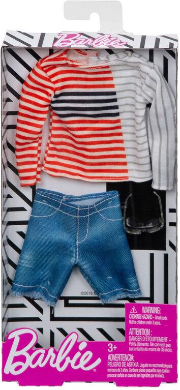 Barbie - Tenues - Ken - Haut à manches longues et rayures.