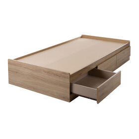 Fynn Mates Bed with 3 Drawers- Rustic Oak