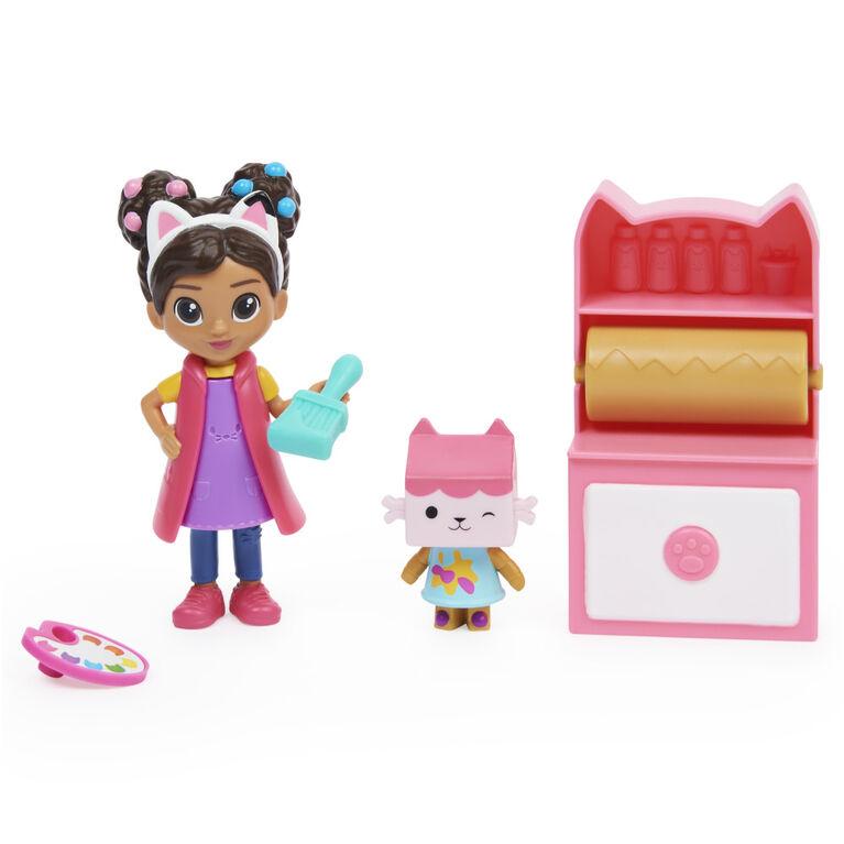 DreamWorks, Gabby's Dollhouse, Coffret Art Studio avec 2 figurines jouets, 2 accessoires, boîte surprise et meuble