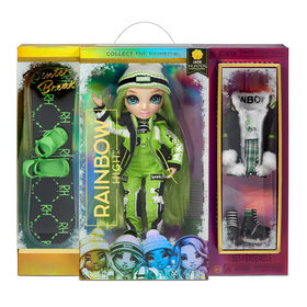Rainbow High Winter Break Jade Hunter - Green Winter Break Fashion Doll and Playset with 2 complete doll outfits, Snowboard and Winter Doll Accessories