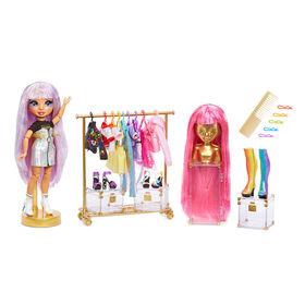 Studio de mode Rainbow High - poupée exclusive avec un arc-en-ciel d'articles de mode (vêtements et accessoires) et 2 perruques scintillantes pour créer 300+ looks