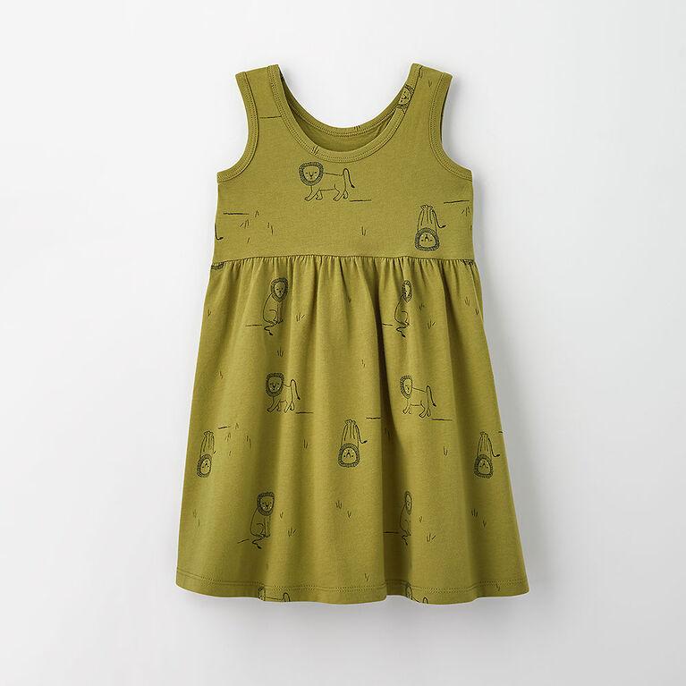 5-6 ans robe sans manches - imprimé vert pâle