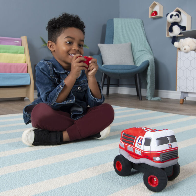 Plush Power RC, Remote Control Fire Truck with Soft Body and 2-Way Steering