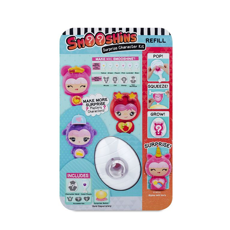 Smooshins Surprise Character Kit- Style 4 with Purple Color Pouch