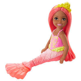 Barbie Dreamtopia Chelsea Mermaid Doll, 6.5-inch with Coral-Colored Hair and Tail