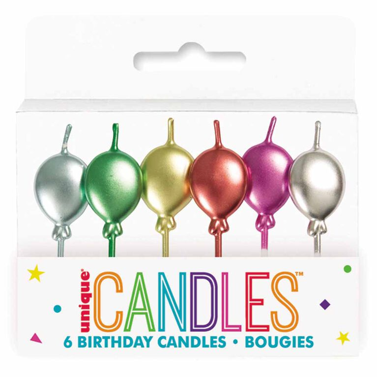 Met Balloon Pick Bday Candles Assorted colours 6 pieces
