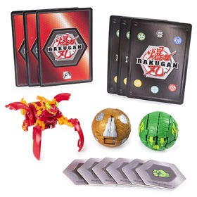 Bakugan Starter Pack 3-Pack, Pyrus Mantanoid, Collectible Transforming Creatures