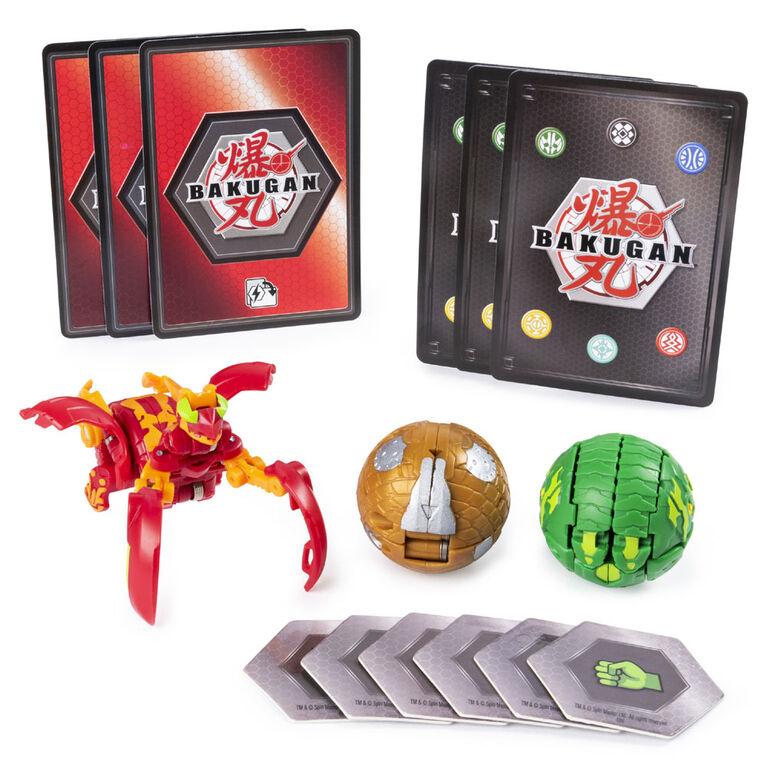 Bakugan Starter Pack 3-Pack, Pyrus Mantanoid, Collectible Transforming Creatures