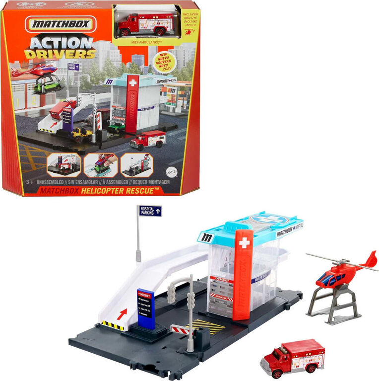 Matchbox Action Drivers Helicopter Rescue Playset