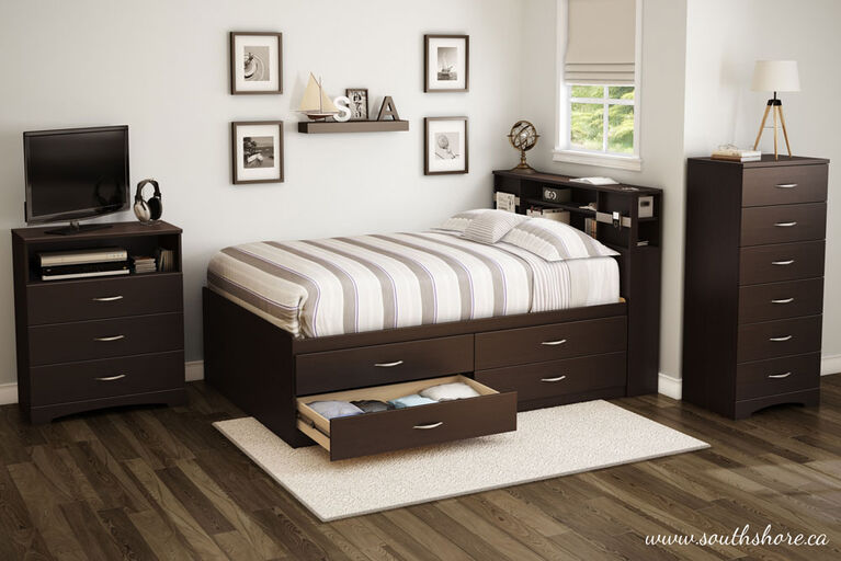 Step One Captain Platform Storage Bed with 4 Drawers- Chocolate