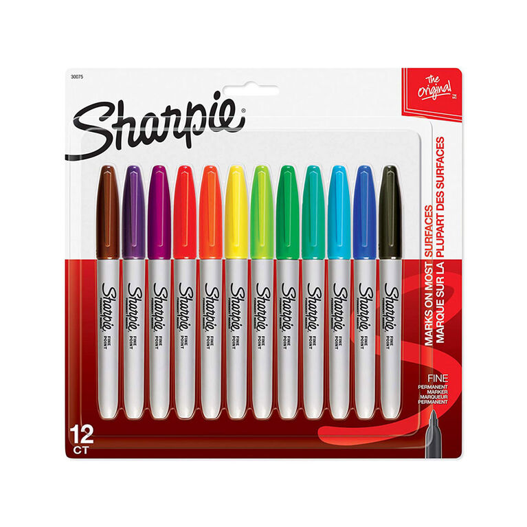 Sharpie marqueurs permanents à pointe fine, couleurs assorties, paq./12
