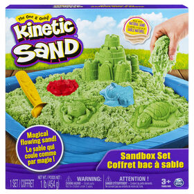 Kinetic Sand, Sandbox Playset with 1lb of Green Kinetic Sand