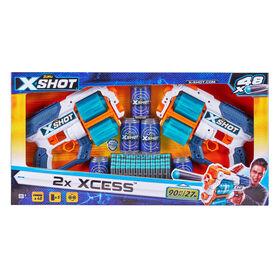 X-Shot Excel Double Xcess Foam Dart Blaster Combo Pack (48 Darts 5 Cans )