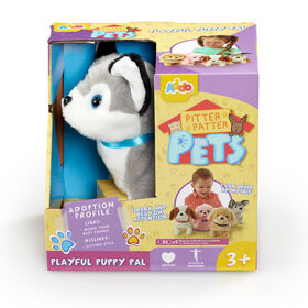 Assortiment de chiots Pitter Patter Pets Playful Puppy Pal - gris et blanc.