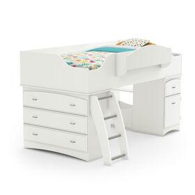 Imagine Loft Bed with Storage- Pure White