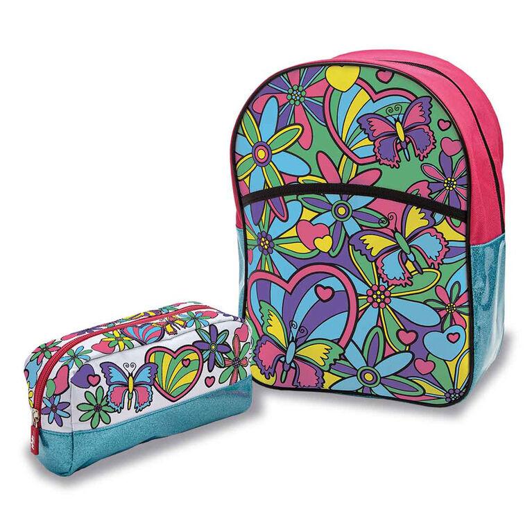 Out To Impress - Trousse Colour Your Own Backpack And Pencil Case - Notre exclusivité