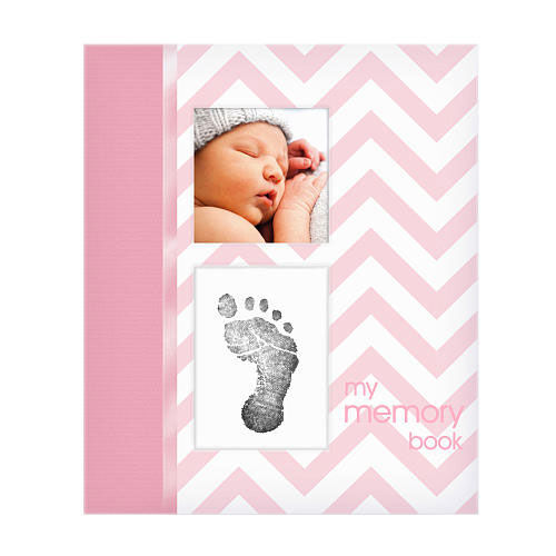 French Version Pearhead Chevron Baby Memory Book with Clean Touch Ink Pad to Create Handprint or Footprint Pink
