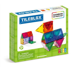 Magformers Tileblox Rainbow 20 Piece Magnetic Construction Set