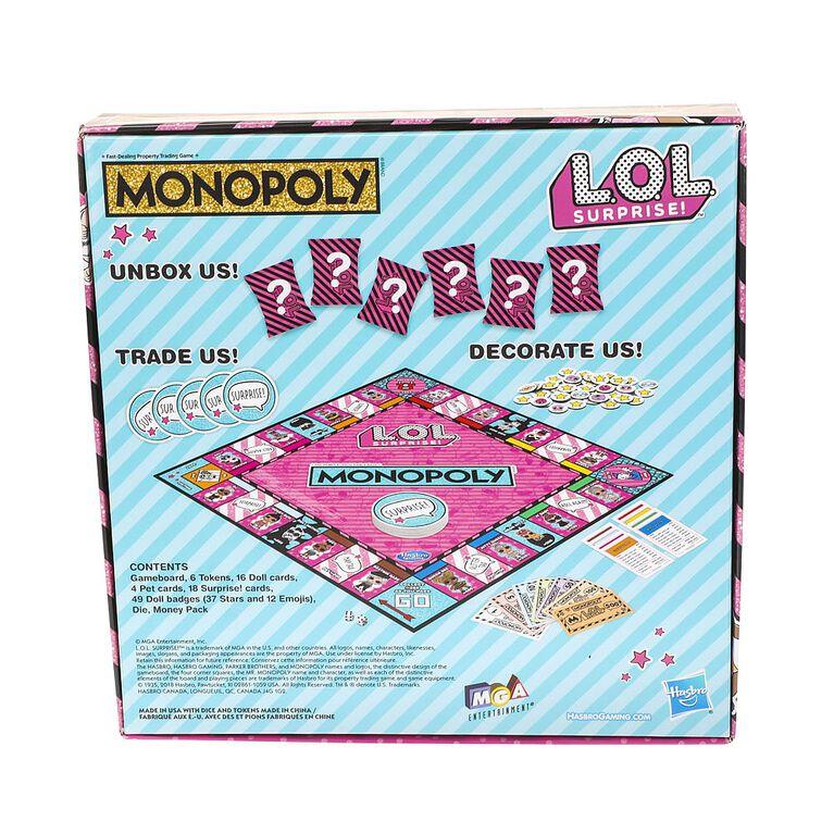 Jeu de plateau Monopoly édition L.O.L. Surprise! - Édition anglaise