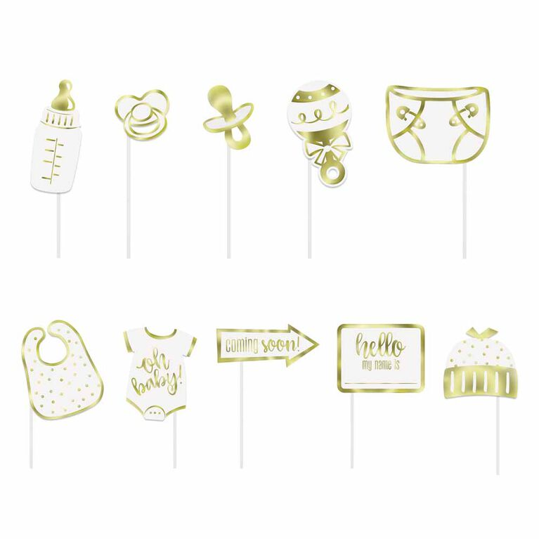 Gold Baby Shower Photo Props 10 pieces - English Edition