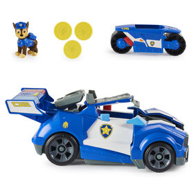 PAW Patrol, Chase 2-in-1 Transforming Movie City Cruiser Toy Car with Motorcycle, Lights, Sounds and Action Figure