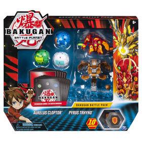 Bakugan, Battle Pack 5 personnages, Aurelus Cloptor et Pyrus Trhyno, Cartes à collectionner et créatures transformables