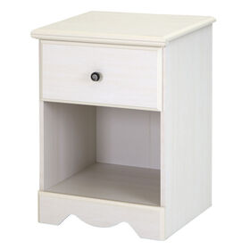 Country Poetry 1-Drawer Nightstand - End Table with Storage- White Wash