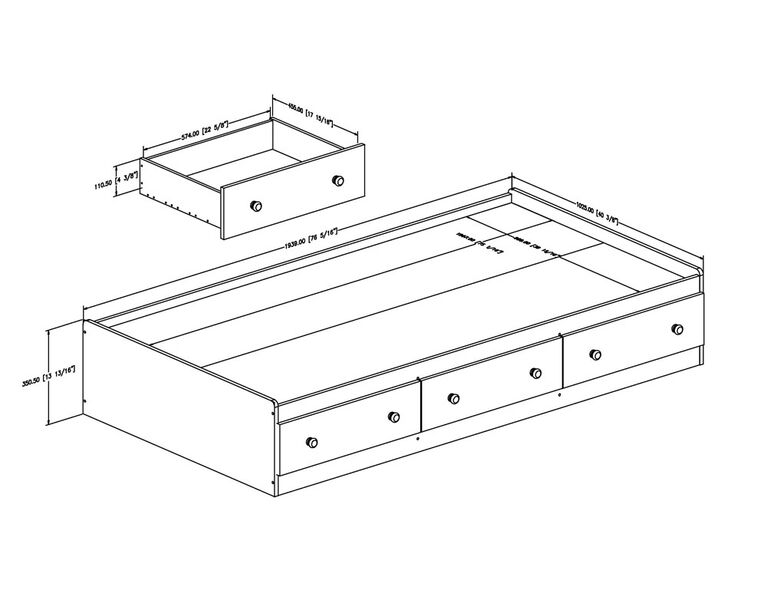 Summertime Mate's Platform Storage Bed with 3 Drawers- Pure White