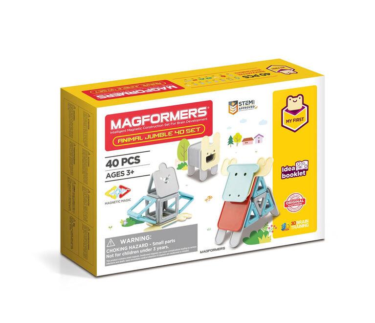 Magformers - Coffret My First Animal Jumble de 40 pièces, couleurs pastel