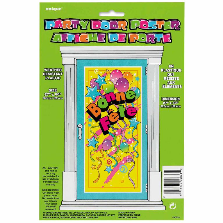 "Bonne Fete Door Poster, 27""X60"" - French Edition"